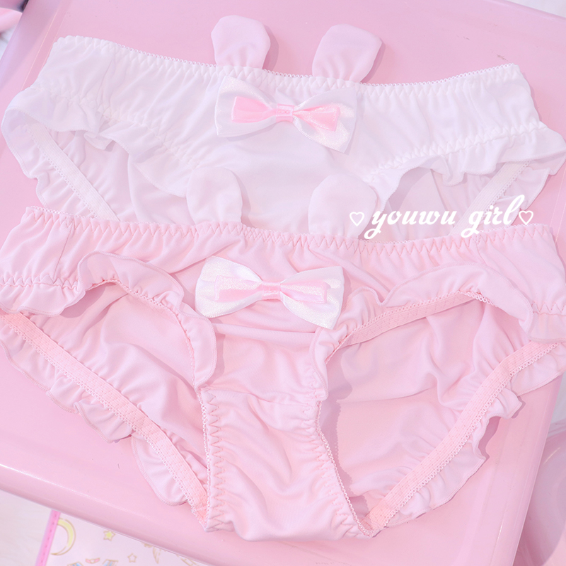 Korean Rabbit Bow Lace Panties For Women Seamless Sexy Underwear Low Waist Panty Hip Up Female Underpants