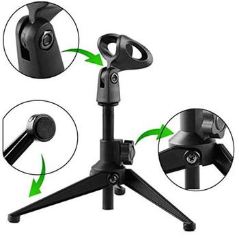 Mini stojak na mikrofon mikrofony statywy uchwyt stół biurkowy regulowane mikrofony stojaki wspornik tanie i dobre opinie NoEnName_Null microphone Statyw stołowy Z tworzywa sztucznego 0 4g EL1402-00B