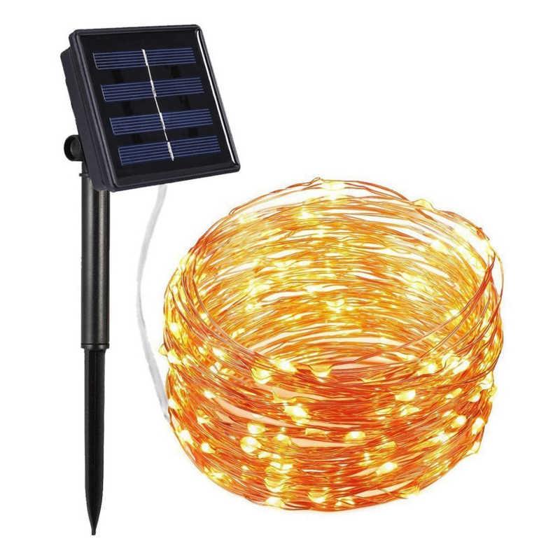 Светодиодный светильник на солнечной батарее, лампа из медной проволоки, уличный Солнечный Сказочный светильник, s 5M 10M 20 M, Рождественская гирлянда, светильник-Гирлянда для свадебного сада