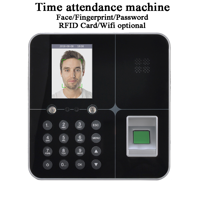 Office Face Time Attendance Machine Standalone DC5V U-disk USB TCP/IP Wifi Battery LCD Screen Biometric Fingerprint Code Card