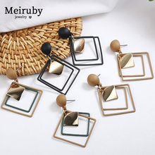 New Geometric Square Statement Earrings 2019 Gold Black Brown Fashion Drop for Women Jewelry Gifts