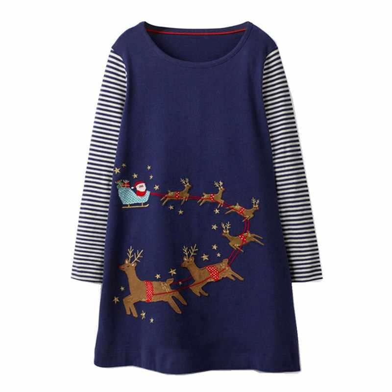 Baby Girls Clothes Kids Vestidos Long Sleeve Girls Dresses with Animal Applique Unicorn Dress Christmas Costume Princess Dress