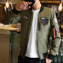 Bomber Patterning Jacket with Patches 2019 Man Pilot Green streetwear Jackets Thin Male Wind Breaker Mans Coat