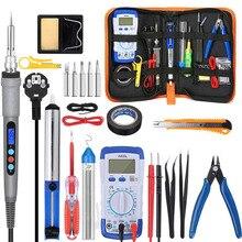 Handskit 90W 220V 110V Digital Soldering Iron kit Electric Soldering Iron with Multimeter Set  5pcs Soldering Tips Welding Tools