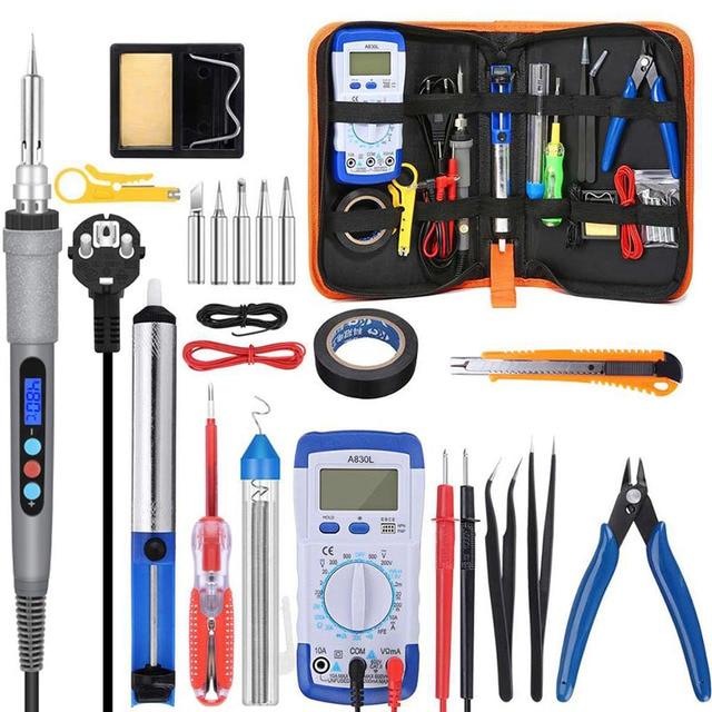 Handskit 90W 220V 110V Digitale Soldeerbout Kit Elektrische Soldeerbout Met Multimeter Set 5 Pcs Solderen tips Lassen