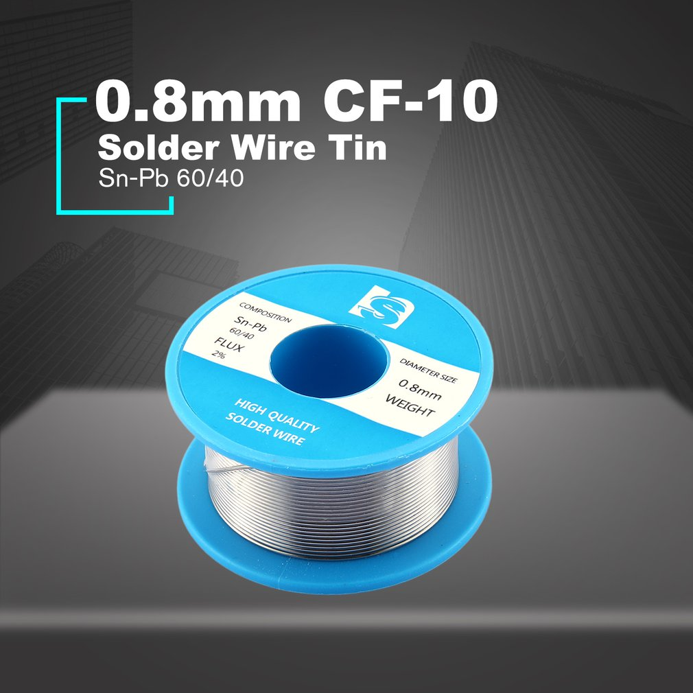 Solder Wire Tin 0.8mm CF-10 Sn-Pb 60/40 Flux 2% Lead Roll Clean Rosin Welding Core Soldering Wire Flux Reel Tube 50g