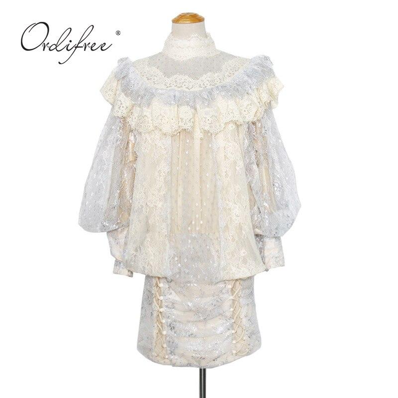 Ordifree 2020 Sommer Luxus Frauen Mini Party Kleid Langarm Polka Dot Mesh Weiß Spitze Vintage Kurzen Kleid - 6