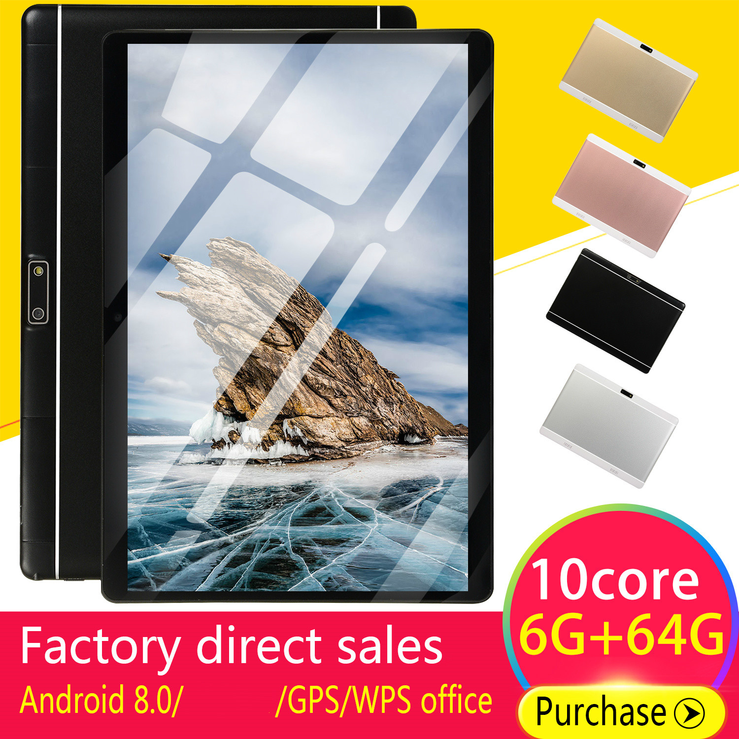 2019 WiFi Tablet PC 10 Inch Ten Core 4G Network Android 8.0 Arge Screen Dual SIM Dual Camera