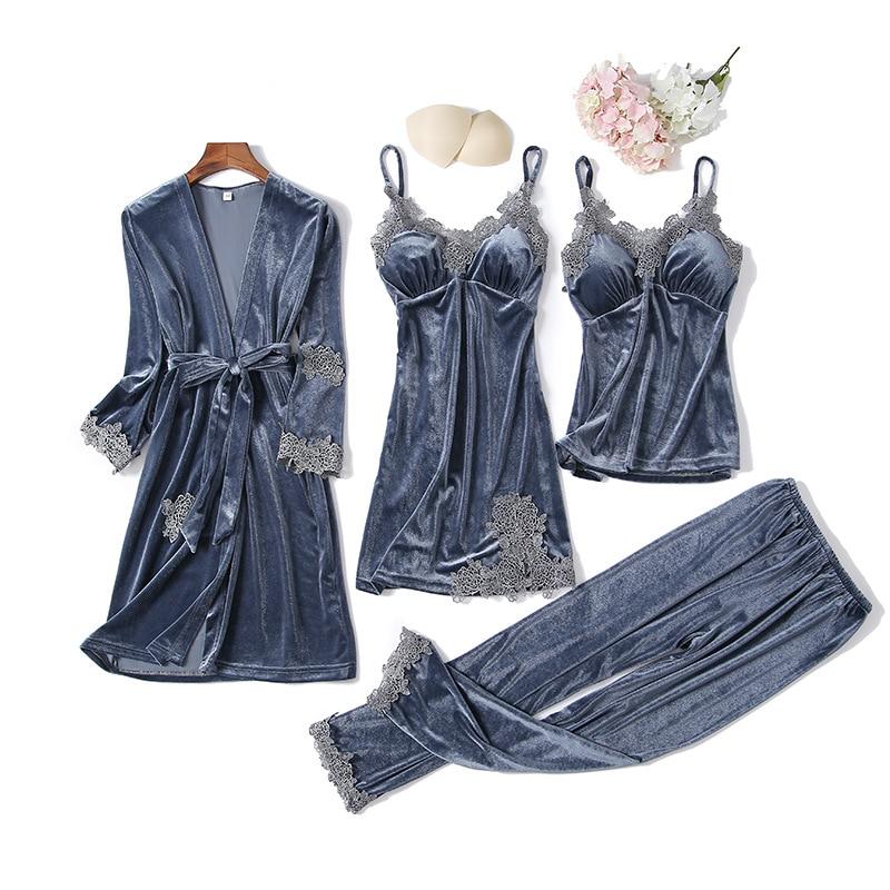 Female V-neck Casual 4PCS Sleep Set Negligee Sexy Velvet Pajamas Suit Sleepwear Home Clothes Velour Soft Pijamas Nightwear