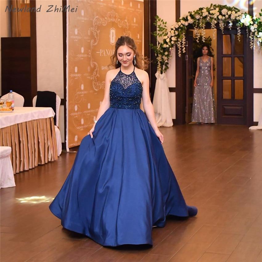 Newland Zhimei Navy Blu Lunghi Abiti da Sera Eleganti Donne Charming Una Linea Backless Senza Maniche Formale Vestiti da Partito 2020 - 3