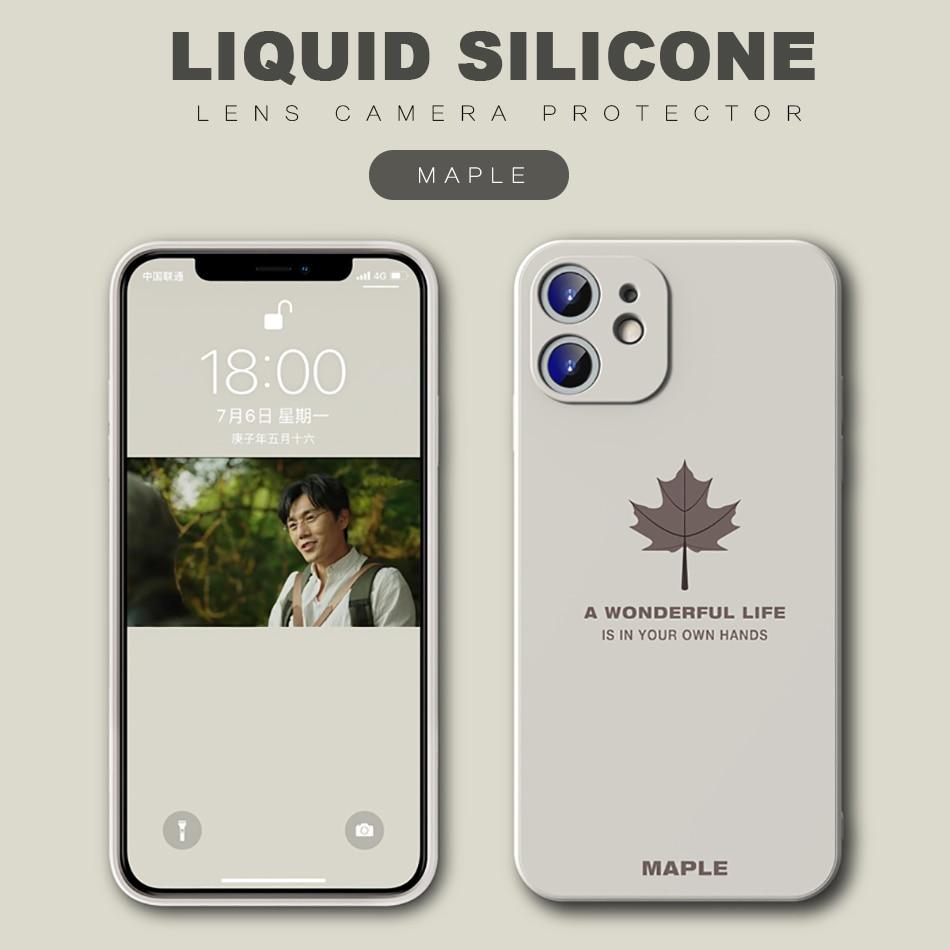 Maple Liquid Case For Apple iPhone 11 12 Pro Max 12 Mini SE 2 2020 6 S 7 8 Plus X XS MAX XR Case Color Soft Silione Luxury Cover