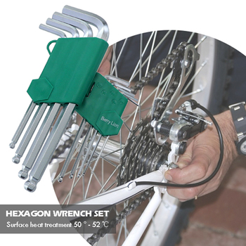9pcs Hexagon Allen Key Wrench Set Combination Ratchet Wrench Tool Set Ball End Spanner Car Repairing Hand Tool Kit image