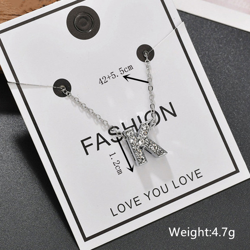 Full Zircon A~Z Initial Letters Pendants Necklaces for Women Silver Color Name Necklaces