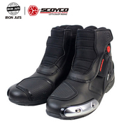 SCOYCO Motorcycle Riding Boots Microfiber Leather Motocross Off Road Racing Ankle Boots Street Riding Shoes Protective Gear