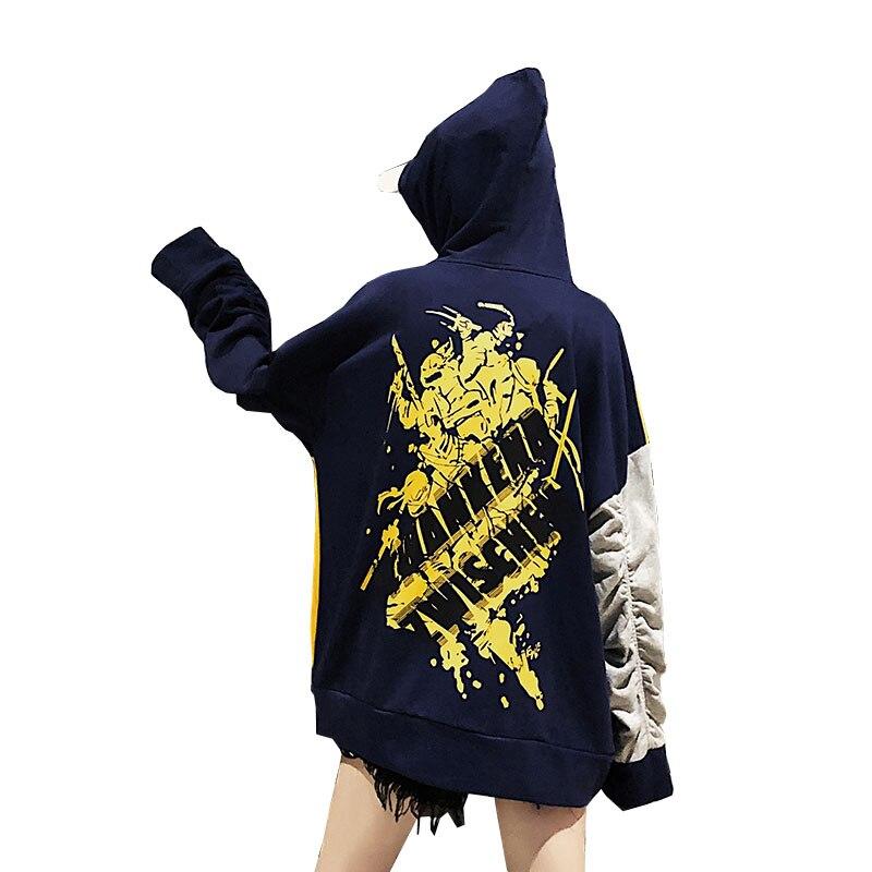 NoEnName Null Coréen sweatshirts à capuche de couple Patchwork Bleu Femmes Lâche Automne Rue Bf Tendance Personnalité Sweat À Capuche Harajuku grande taille 50cs