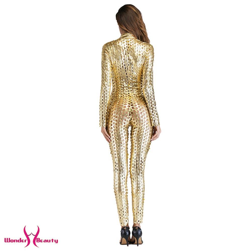 faux leather catsuit catwomen shiny black gold silver metallic leather jumpsuit wetlook pu leotard bodysuit bar night clubwear (3)