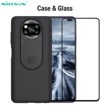 Nillkin جراب CamShield وزجاج مقسّى لهاتف Xiaomi Poco X3 ، غطاء ، NFC ، حماية الكاميرا ، تغطية كاملة ، واقي شاشة