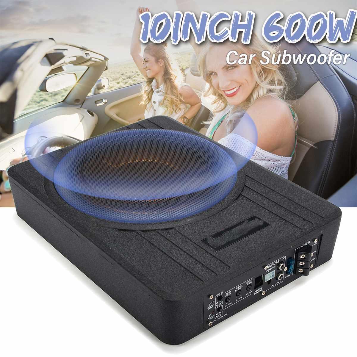 10 pouces 600W voiture Subwoofer Audio de voiture mince sous siège actif Subwoofer amplificateur de basse haut-parleur amplificateur de voiture caissons de basses Woofer 12V
