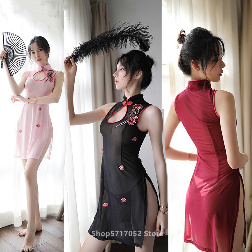Chinese Traditional Cheongsam Dress Embroidery For Women Perspective Sexy Retro Qipao Split Nightclub Hollow Out Uniform Outfits