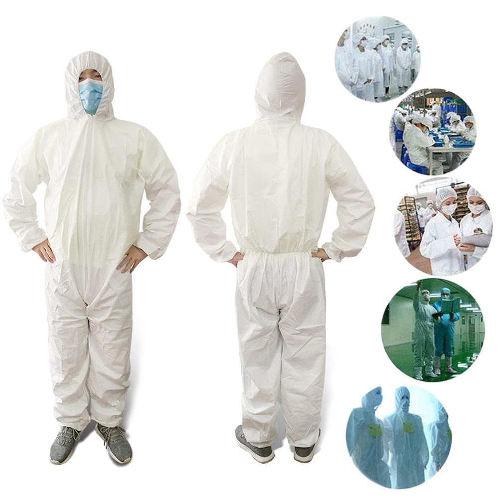 Breathable Disposable Coveralls Isolation Suit Safety Protective Clothing Hooded Suit Dust-proof Coveralls For Height 170-180cm