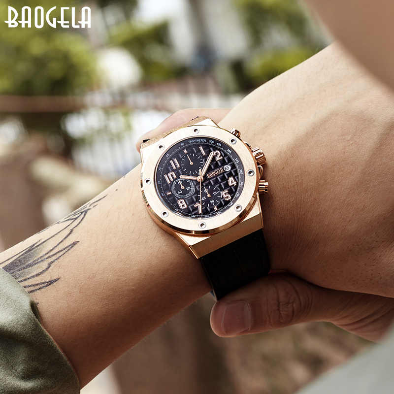 BAOGELA Men's Chronograph Quartz Watches 2019 New Waterproof Sports Casual Wrist Watch Man Leather Strap Clock 1805 Rose black