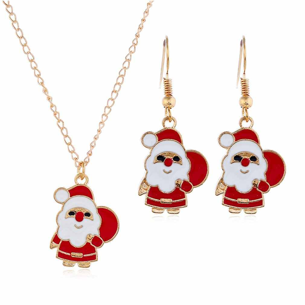 Cute Cartoon Drop Oil Color Santa Snowman Christmas Gift Earrings Necklace Set Professional Fashion Portable