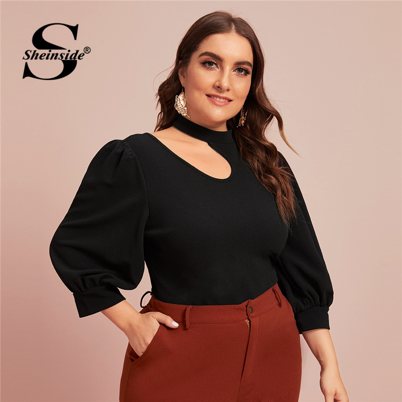 Sheinside Plus Size Casual Cut Out Shoulder Detail Blouse Women 2020 Spring 3/4 Sleeve Solid Trim Blouses Ladies Black Top