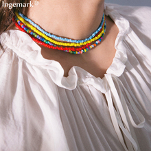 10 Color Simple Rice Bead Strand Necklace Statement Collar  Fashion Trendy String Short Choker Collier Femme 2019