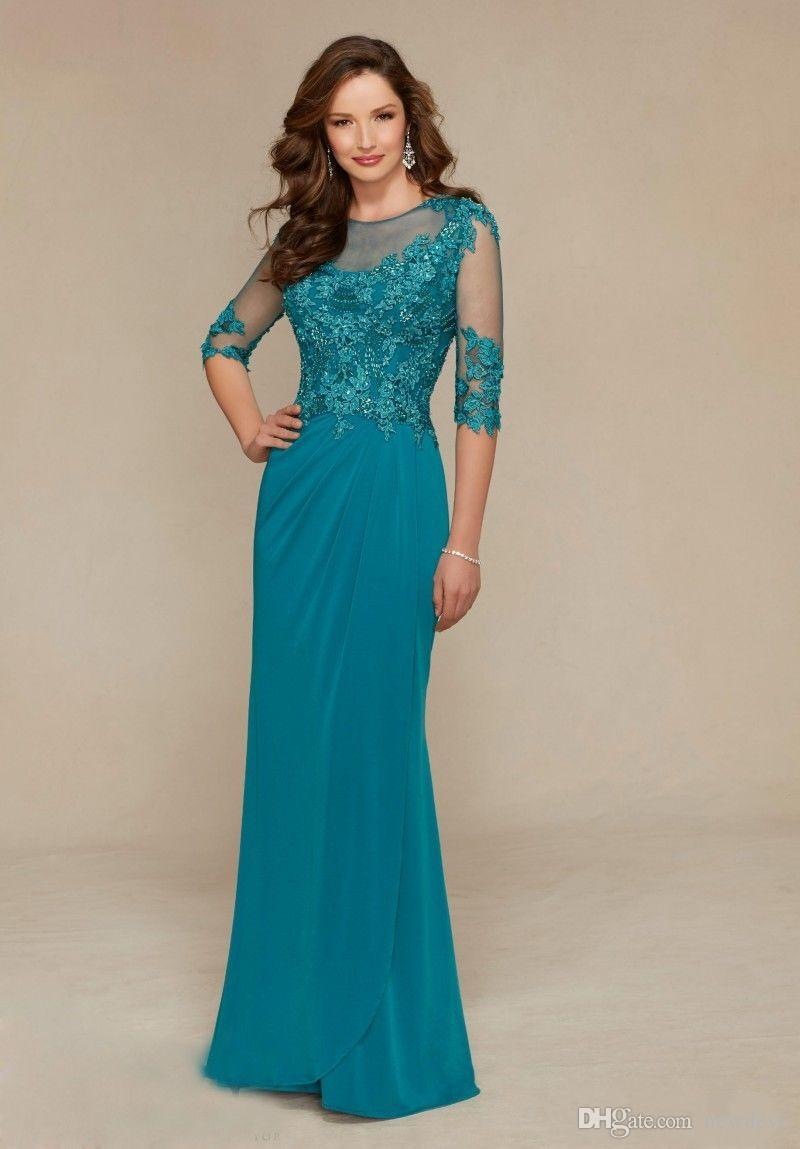 2020 Elegant Mother Of The Bride Dresses 3/4 Long Sleeve Lace Beaded Wedding Guest Gowns Floor Length Chiffon Evening Dress
