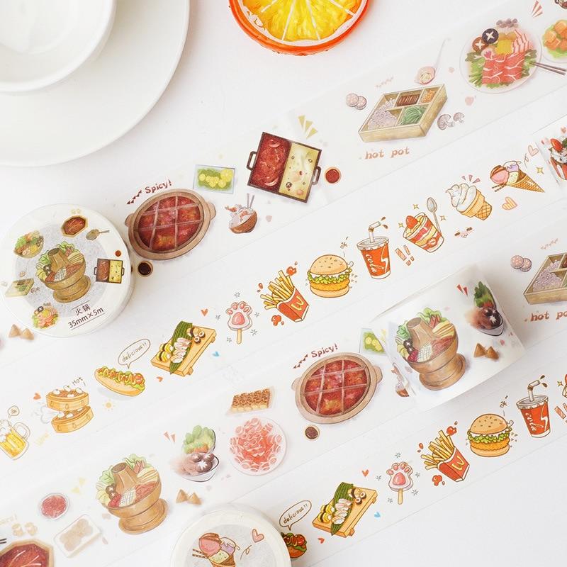 1set/1lot Washi Masking Tapes Hot Pot Food Decorative Adhesive Scrapbooking DIY Paper Japanese Stickers 3M