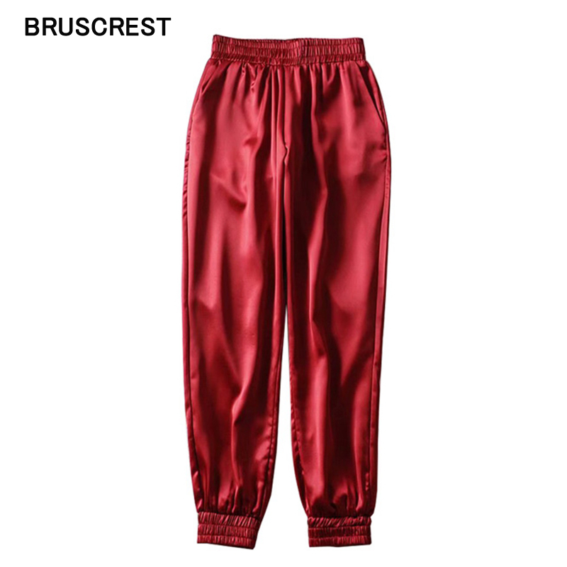 Korean Satin Pants Women Black Joggers Women Trousers Casual Pink Sweatpants High Waist Pants Cargo Sweatpants Red