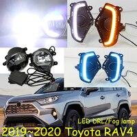 1set y car bumper head light for TOYOTA RAV4 fog light car accessories LED DRL headlight for Toyota RAV4 Daytime running light