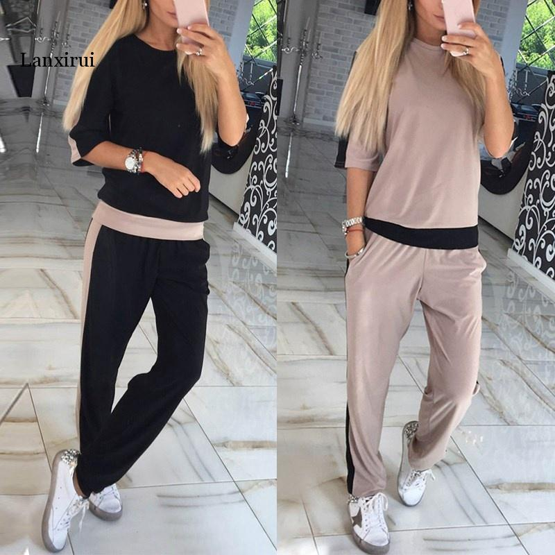 Women Sets Casual Tracksuit Newest Autumn O Neck Short Sleeves Sporting Suit Two Pieces Sets Women Sportswear