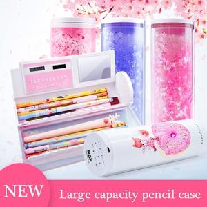 Image 2 - Cute Cartoon Quicksand Pencil Case Password Pencil Box With Mirror Solar Calculator For Boys Girls Kids School Stationery Supply