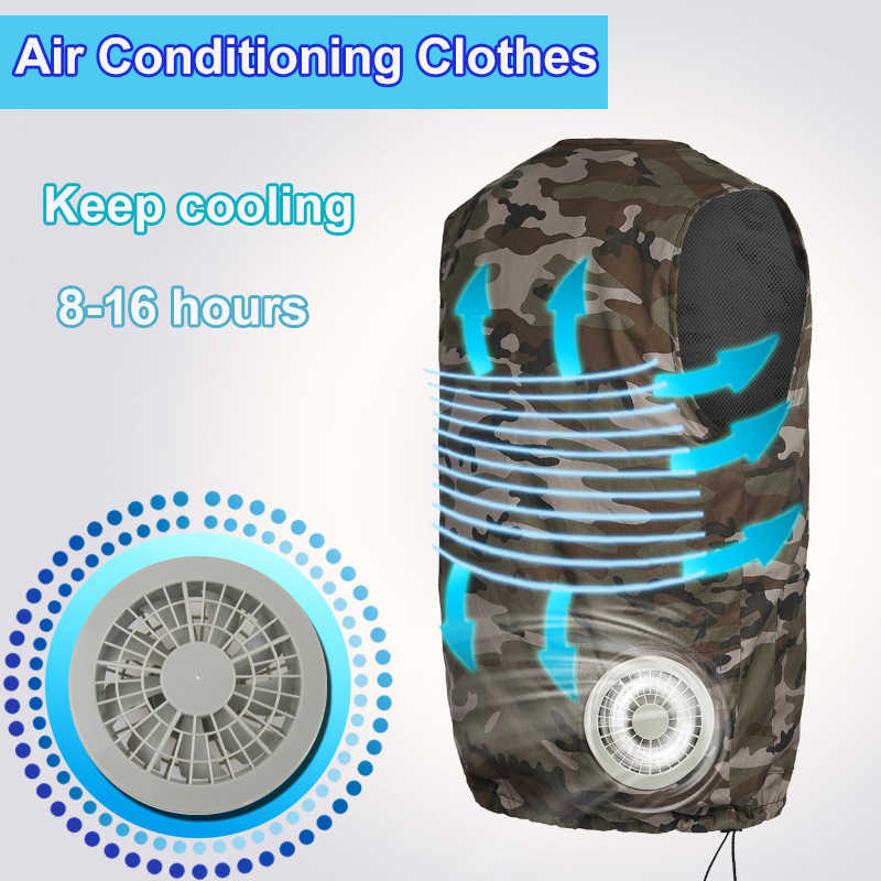 Factory Fan Cooling Suit Vest High Temperature Protective Clothing Heatstroke Cooling Vest Air Conditioning Short-sleeved overa