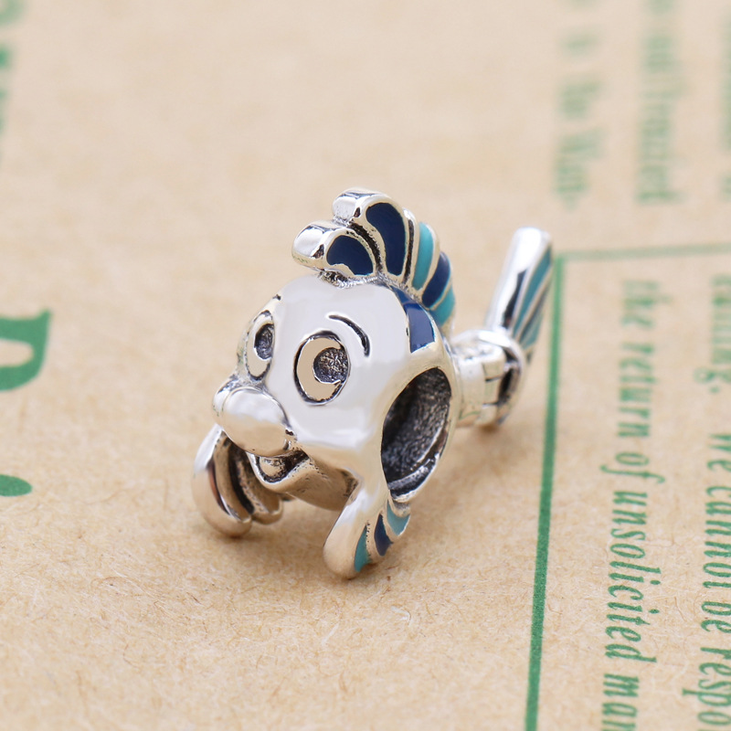Free Shipping Authentic 925 Sterling Silver The Little Mermaid Flounder Charm Fit Pandora Bracelet For Women DIY Jewelry Beads(China)