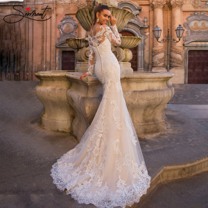 Image 3 - BAZIIINGAAA Luxury Long Sleeve Mermaid   Detachable Mermaid Tail 2 in 1 Lace Wedding Dress