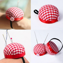 Red Plaid Grids Needle Sewing Pin Cushion Wrist Strap Tool Button Storage Holder