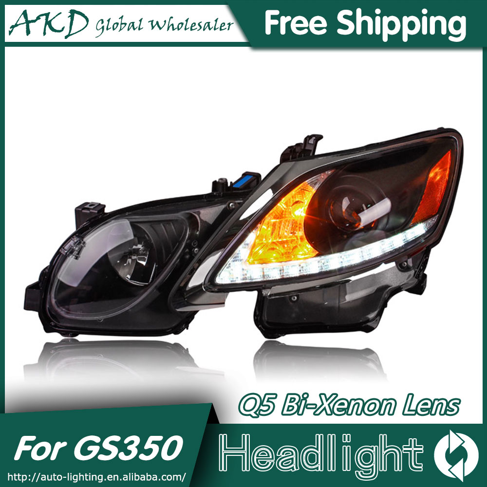 AKD Car Styling for <font><b>Lexus</b></font> <font><b>GS350</b></font> Headlights 2004-2011 GS300 LED Headlight LED DRL Bi Xenon Lens High Low Beam Parking image