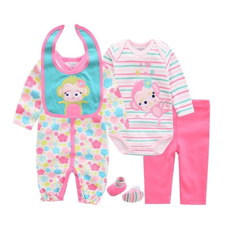 2019 Baby Clothing Sets Cotton Cartoon Cute baby clothes Newborn Boys Suit 5 Piece infant Long Rompers Bodysuit pants Shoes Bib