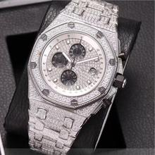 6 types Silver iced out Mens diamonds watch super quality iced out quartz watches chronograph function works with box black out watch box