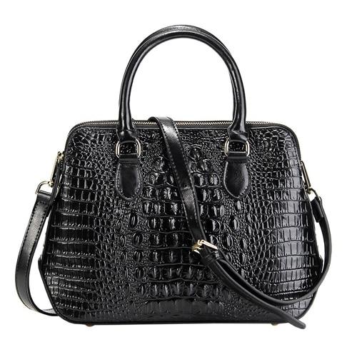 Women Genuine Leather Handbag Fashionable Crocodile Pattern Real Leather Shoulder Bag Classical Tote Crossbody Bag