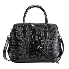 Longlight Women Split Leather Handbag Fashionable Crocodile Pattern Leather Shoulder Bag Classical Tote Crossbody Bag