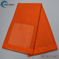 Alisa Punch Swiss Voile Lace Fabric Nigerian Sewing Wedding Dress Mateial 2020 Latest Orange African Dry Lace Fabric B971873 50C