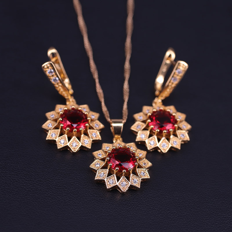 Top Quality Sunflower Red Stone Gold Color Costume Jewelry Set For Women Earrings Necklace Set In Store