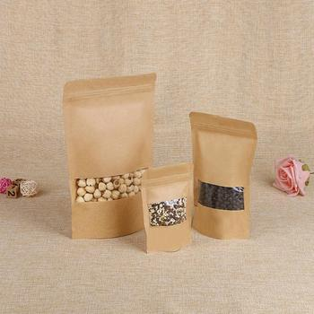 Reusable Kraft Paper Bag with Frosted Window Stand Up Pouch Bag with Tear Notch Moisture Proof Packaging image