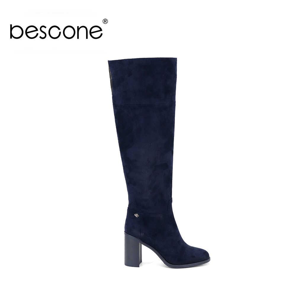 BESCONE şık kare topuk bayan botları temel 9 cm süper yüksek topuk el yapımı ayakkabı seksi sivri burun bayanlar diz yüksek çizmeler BC316