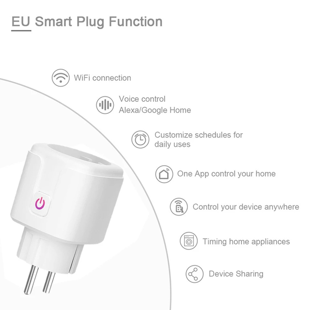WiFi Smart Plug 16A EU Brazil Socket Wireless Remote Voice Control Power Energy Monitor Outlet Timer Works for Alexa Google Home 2