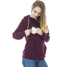 Long Sleeve Nursing Sweatshirt Hoodie Winter for Feeding Maternity Pregnancy Clothes Plus Size Nursing Top Breastfeeding Hoodie цена и фото