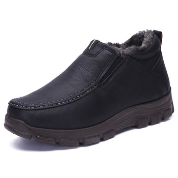 New Men Shoes Winter Warm Leather With Fur Snow Boots Breathable Male Comfortable Casual Shoes Lightweight Footwear Big Sizes 48